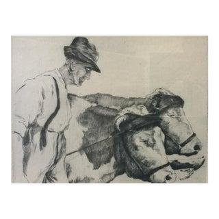 """Fabulous Vintage Engraving """"Le Vieil Homme Et Le Bétail"""" For Sale"""