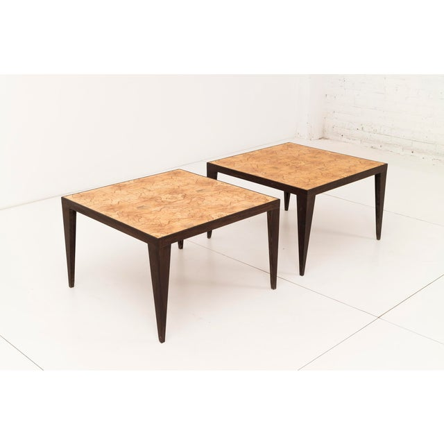 Pair of unique handcrafted side tables with maple book-matched top with wenge wood legs. by Uruguayan craftsman Roberto...