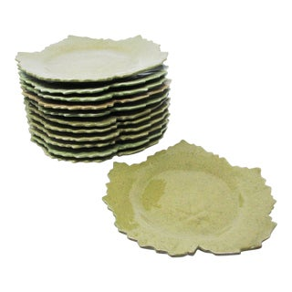 Vintage Leaf Shaped French Faience Pottery Plates in Green - Set of 12 For Sale