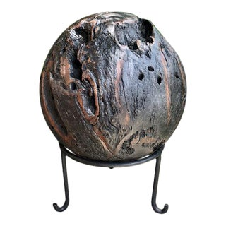 "Teak Ball With Stand - 11"" For Sale"