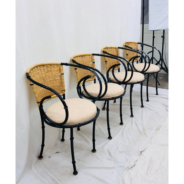 Vintage Metal & Wicker Bistro Chairs For Sale - Image 13 of 13