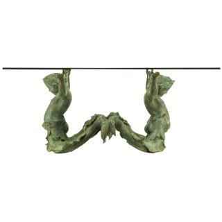 Bronze Putti DI Mare & Glass Dining Table For Sale