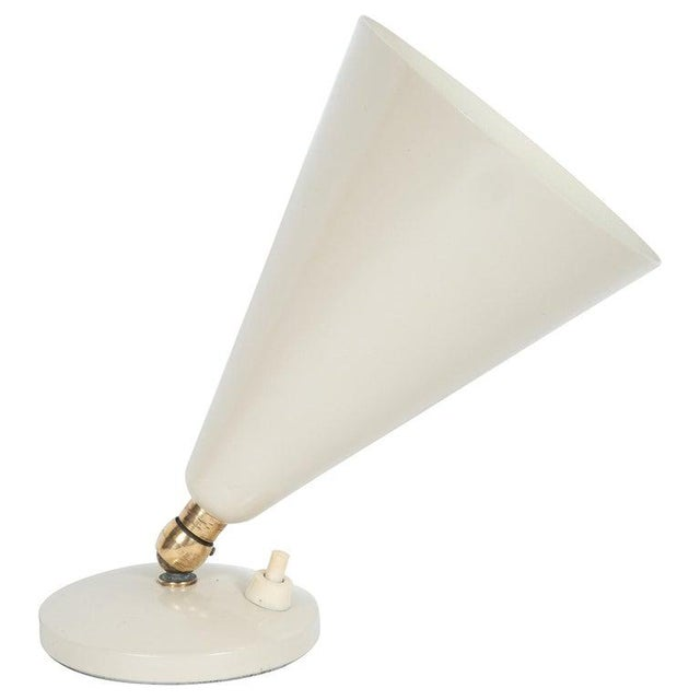 Metal Mid-Century Modern Brass and Ivory Enamel Articulating Uplight For Sale - Image 7 of 7