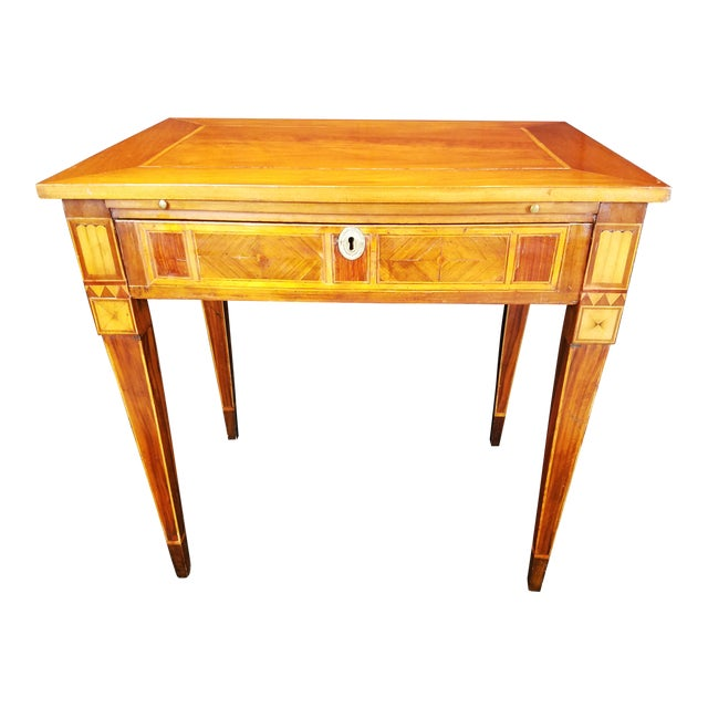 Italian Neo Classic Parquetry Inlaid Writing Table. For Sale
