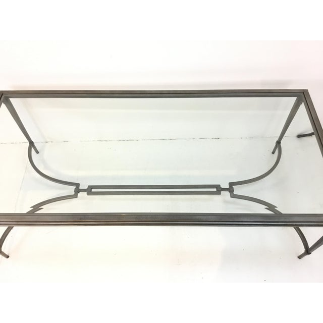 Contemporary Organic Modern Sherrill Co. Metal and Glass Cocktail Table For Sale - Image 3 of 6