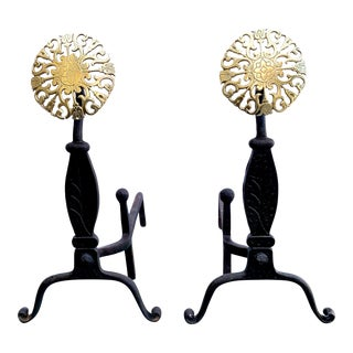 Vintage Andirons With Brass Medallions - A Pair For Sale