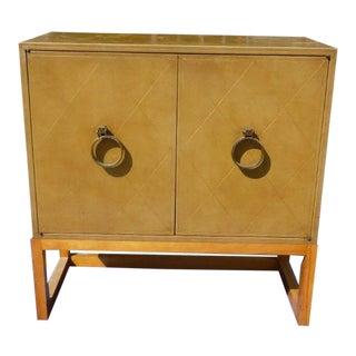 1950s Mid-Century Modern Tommi Parzinger Leather Covered Cabinet For Sale