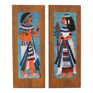 Judith Daner Enamel on Copper Artwork Wall Panel Egyptians, a Pair For Sale