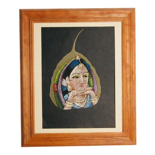 Hand Painted Indian Woman on a Leaf For Sale