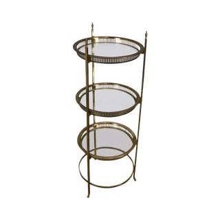 Three Tier Glass and Brass Serving Stand For Sale
