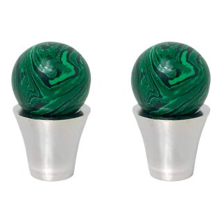 Addison Weeks Tanner Knob, Nickel & Malachite - a Pair For Sale