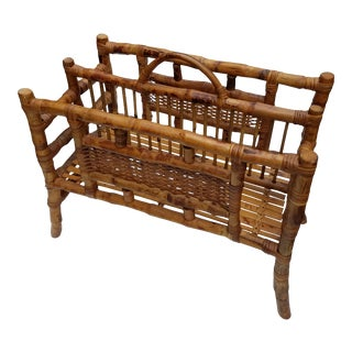 1960s Tortoise Bamboo Large Chinoiserie Canterbury or Magazine Stand For Sale