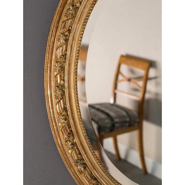 Antique French Louis XVI Style Oval Mirror circa 1890 - Image 5 of 8