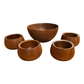 Vintage Mid-Century Dansk Danish Teak Salad Bowls- 5 Pieces For Sale