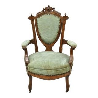 Antique Eastlake Victorian Green Carved Walnut Parlor Arm Chair For Sale