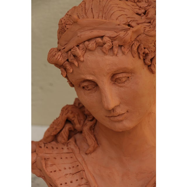 "2010s Sarah Myers ""Woman With a Tiara"" Terracotta Sculpture For Sale - Image 5 of 9"