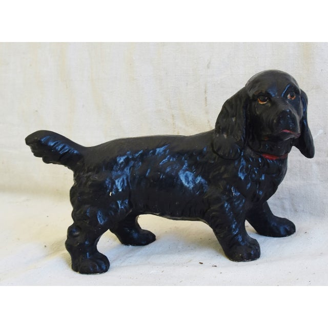 Black Original 1950s Vintage Cast Iron Dog Figure Doorstop For Sale - Image 8 of 9