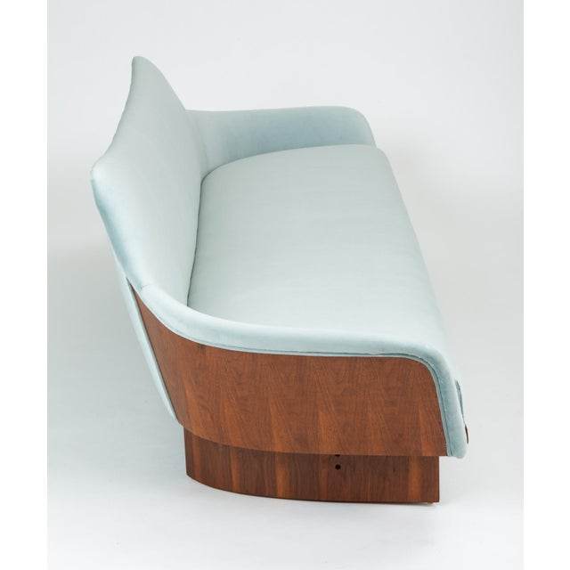 American Made Gondola Sofa in Ice Blue Velvet With Walnut Details For Sale - Image 12 of 13