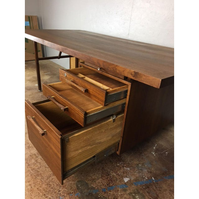 Large Walnut Executive Desk - Image 4 of 11