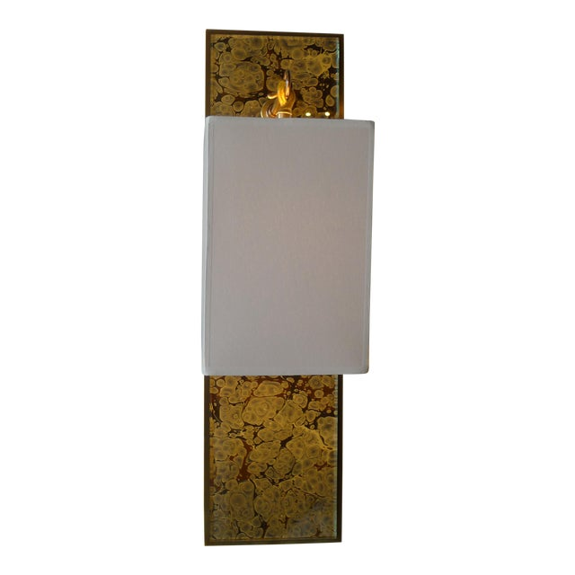 Modern Brass and Marbleized Wall Sconce V2 by Paul Marra - Image 4 of 13
