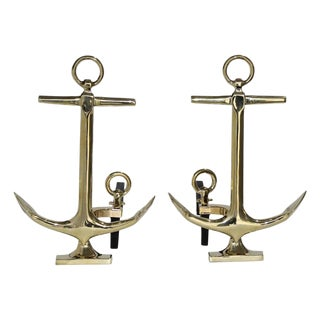Brass Anchor Form Andirons in the Style of Puritan, the Pair For Sale