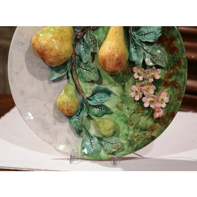 Longchamp Large 19th Century French Barbotine Wall Platter With Pears From Longchamp For Sale - Image 4 of 10