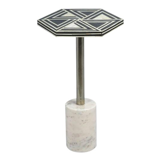 Kenneth Ludwig Sultana Hexagon Bone & Marble Drinks Table For Sale