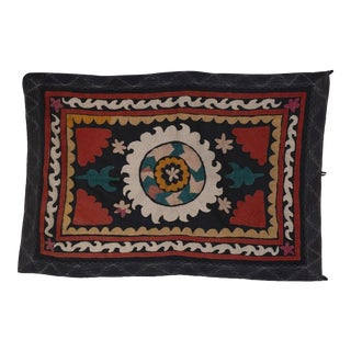 Vintage Handmade Small Samarkand Uzbek Suzani Textile, Embroiedered Wall Hanging Tapestry, Tablecloth 32'' X 49'' For Sale