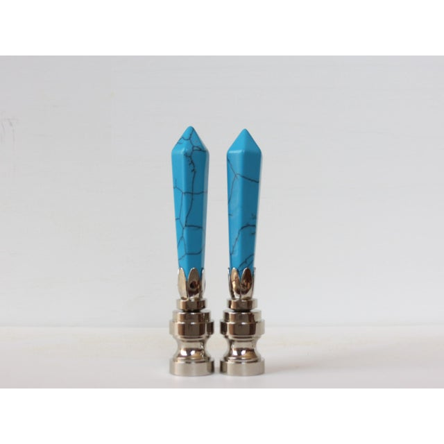 Turquoise Blue Gemstone Finials - A Pair - Image 2 of 3