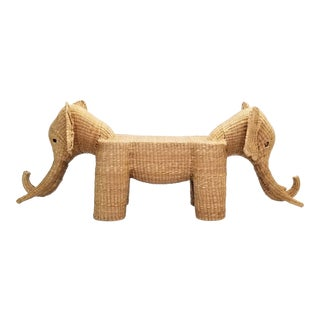 Mario Lopez Torres Elephant Bench - Signed 1974 - Large - Palm Beach Boho Chic Mid Century Modern Wicker For Sale