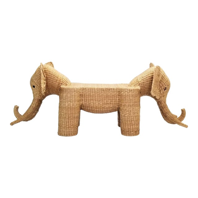 Mario Lopez Torres Elephant Bench - Signed 1974 -- Palm Beach Boho Chic Mid Century Modern Wicker Seagrass Animal For Sale