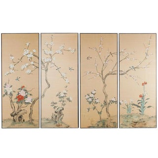 Set of Four Chinese Painted Silk Bird and Flower Panels For Sale