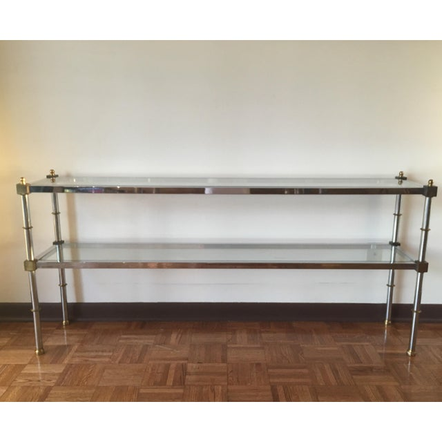 Chrome, Brass & Glass Console Table, 1970s - Image 2 of 6