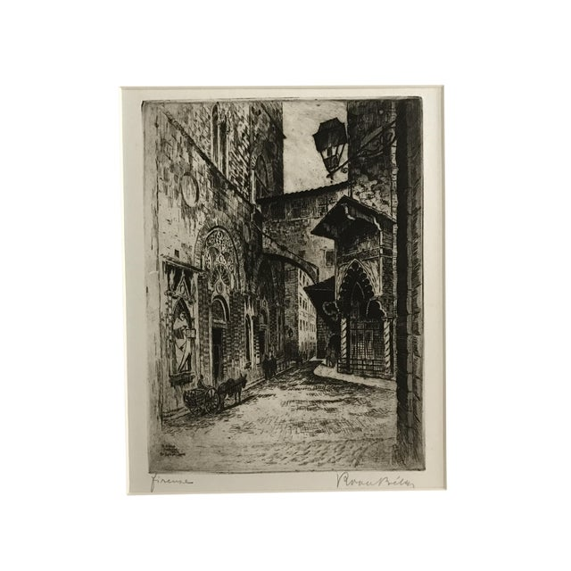 1925 Vintage Florence Italy Street Scene Etching - Image 1 of 5