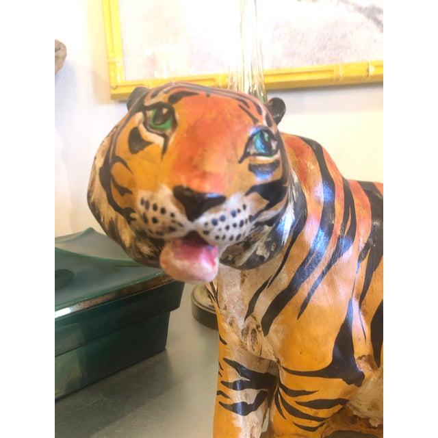 Vintage Hollywood Regency Italian Terracotta Tiger Statue For Sale - Image 4 of 13