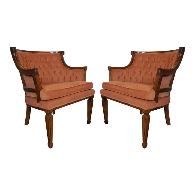 Mid-Century Neoclassical Revival Arm Chairs - a Pair For Sale