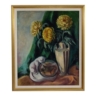 Still Life With Chrysthanemums & Goldfish by Joseph Stella Framed Oil on Canvas For Sale