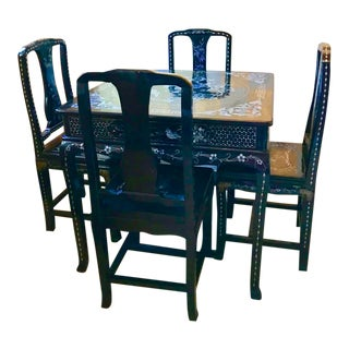 Vintage Asian Black Laminated Dining Set - 5 Pieces For Sale