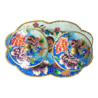 Korean Cloisonné Jars & Tray - Set of 3