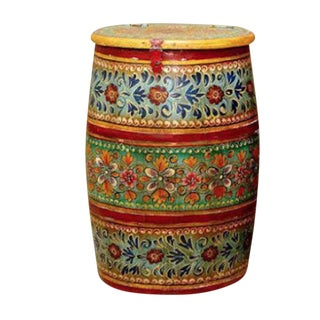 Indian Rajasthan Painted Barrel For Sale