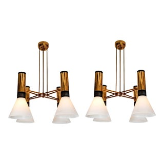 1950s Stilnovo 4-Cone Model #1174 Chandeliers - a Pair For Sale