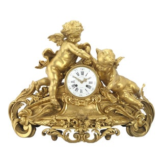 Barbedienne Gilt Bronze Mantel Clock For Sale