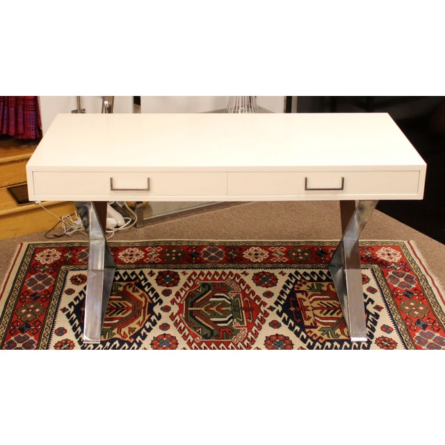 1960s Mid-Century Modern Milo Baughman White Lacquer Chrome X Base Campaign Desk 1960s For Sale - Image 5 of 11