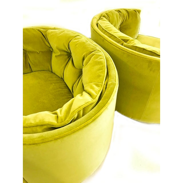 Vintage Chartreuse Velvet Club Chairs - a Pair For Sale - Image 4 of 5