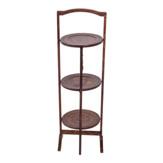 19th Century Madcap Cottage Tiered Wood Serving Stand For Sale