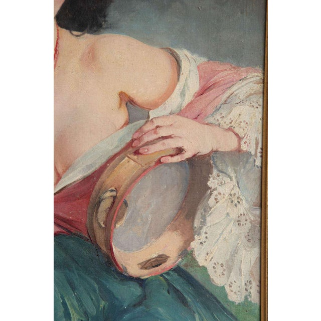 """Canvas Maria Szantho """"Woman With Tambourine"""", 1930s For Sale - Image 7 of 8"""