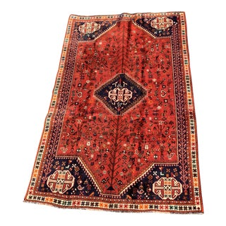 1960s Vintage Persian Qashqai Rug - 4′9″ × 8′ For Sale