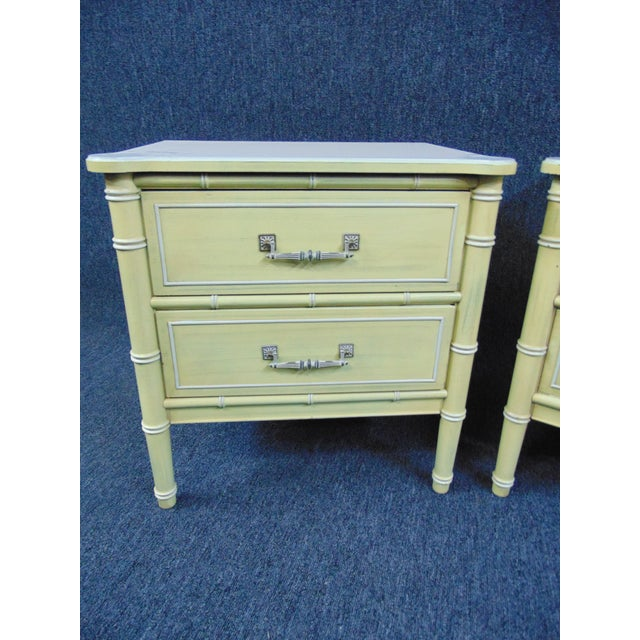 Mid 20th Century Hollywood Regency Style Cream & Yellow Faux Bamboo Nightstands - a Pair For Sale - Image 5 of 10