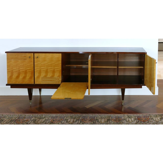 Brown Ameublement Nf Mahogany and Satinwood Credenza With Brass Hardware From France For Sale - Image 8 of 13