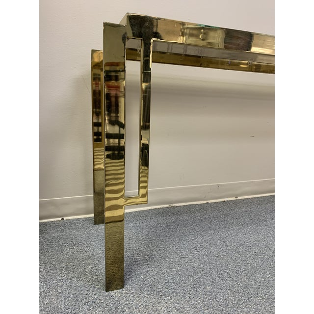 Mid Century Modern Gold Chrome & Glass Console Table For Sale In West Palm - Image 6 of 8